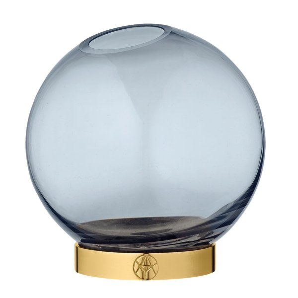 Aytm Vase Globe mit Ständer Navy Blau Gold 17cm