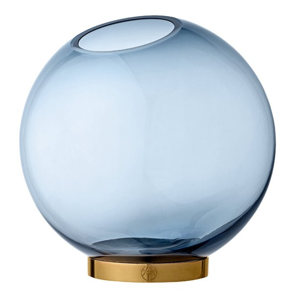 Aytm Vase Globe mit Ständer Navy Blau Gold 10cm