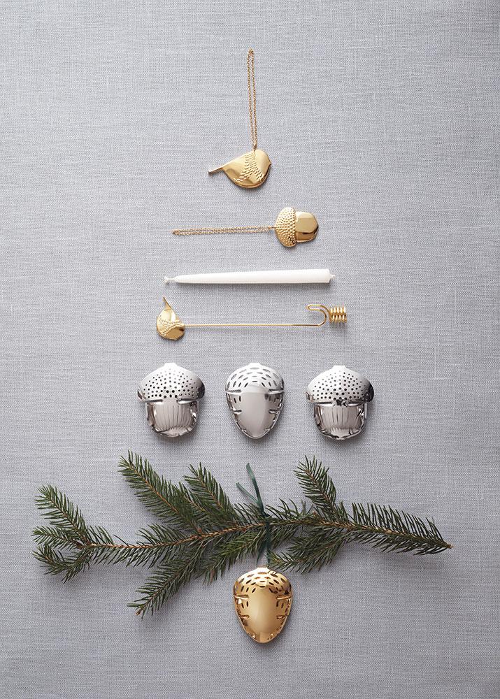 Weihnachtsbaum Kerzenhalter.Georg Jensen Weihnachtsbaum Kerzenhalter Set 2018 Wintervogel Und Eichel 2 Teilig