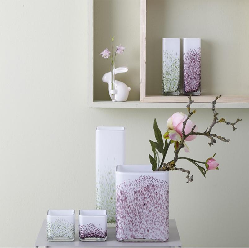 vase windlicht wei gr n handgefertigt aus glas von leonardo. Black Bedroom Furniture Sets. Home Design Ideas